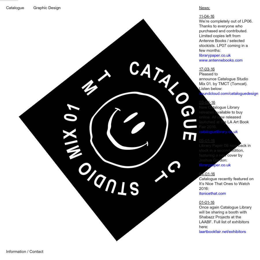 Catalogue is a creative practice specialising in graphic design established in 2011 by Oliver Shaw and Tom Pratt with offices in London and Leeds, UK.