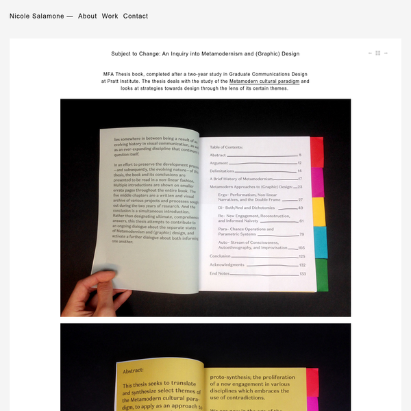 Subject to Change: An Inquiry into Metamodernism and (Graphic) Design - Nicole Salamone