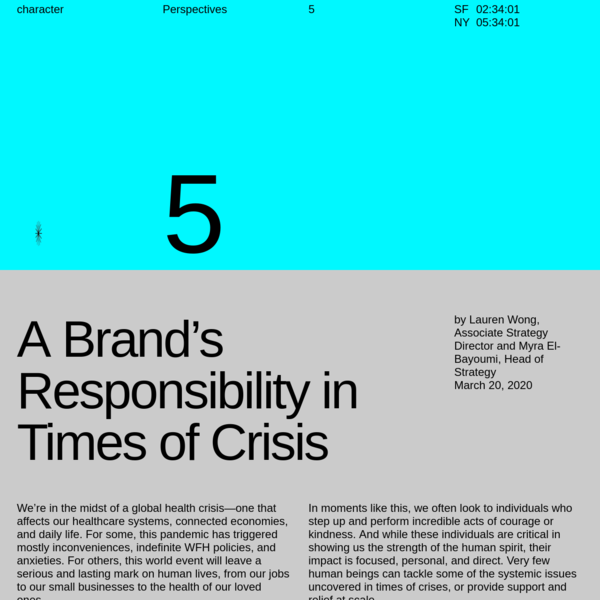 Character | A Brand's Responsibility in Times of Crisis