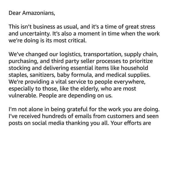 A message to all Amazon employees.