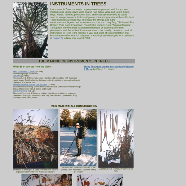 Cheryl Leonard's Instruments in Trees
