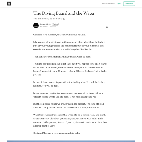 The Diving Board and the Water - Being and Dying - Medium