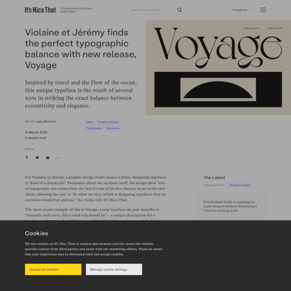Violaine et Jérémy finds the perfect typographic balance with new release, Voyage