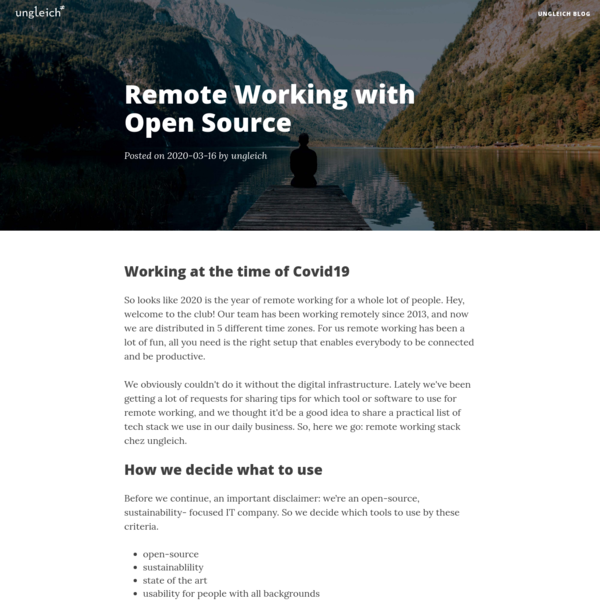 Remote Working with Open Source