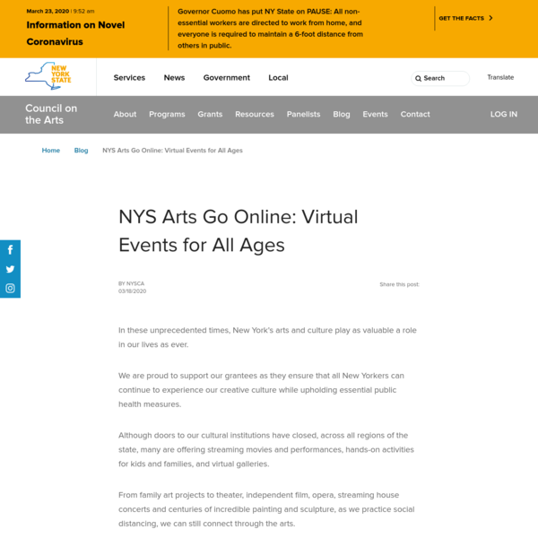 NYS Arts Go Online: Virtual Events for All Ages