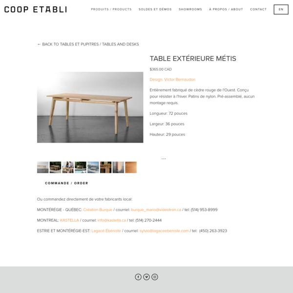 TABLE EXTÉRIEURE MÉTIS - COOP ETABLI