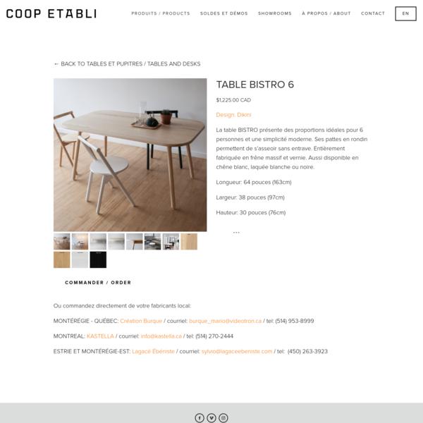TABLE BISTRO 6 - COOP ETABLI