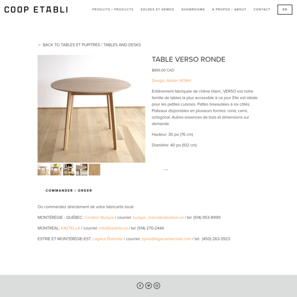TABLE VERSO RONDE - COOP ETABLI