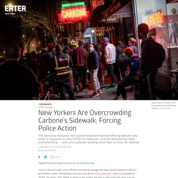 New Yorkers Are Overcrowding Carbone's Sidewalk, Forcing Police Action