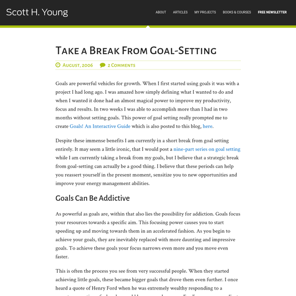 Take a Break From Goal-Setting