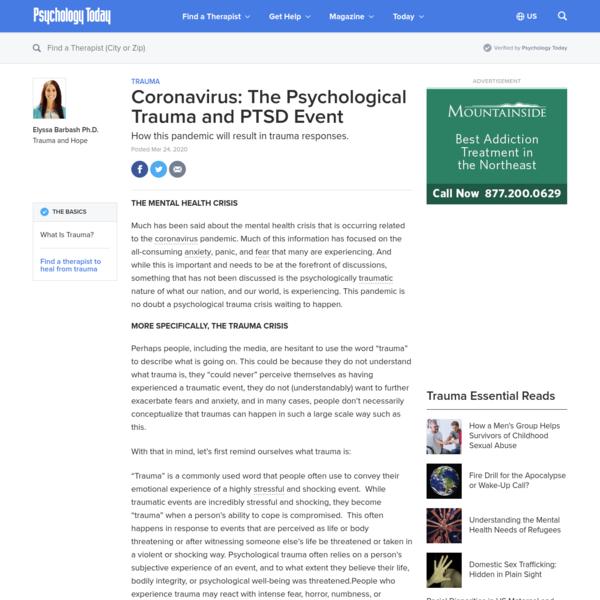 Coronavirus: The Psychological Trauma and PTSD Event