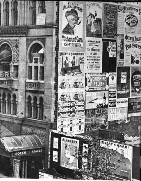 Posters on the side of Alhambra Theatre, Leicester Square, London, 1899