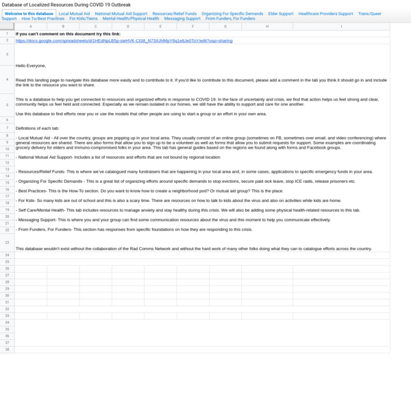 Database of Localized Resources During COVID 19 Outbreak - Google Drive