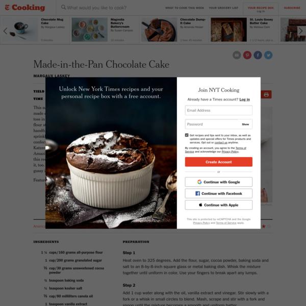 Made-in-the-Pan Chocolate Cake Recipe