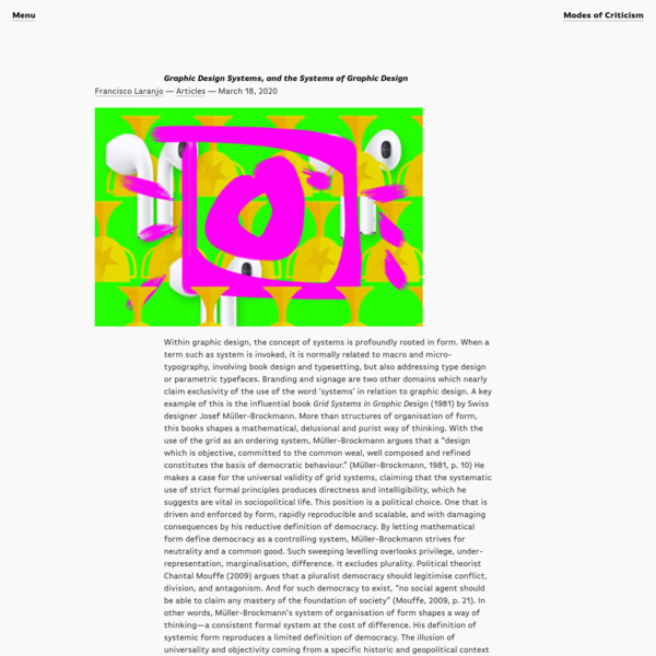Graphic Design Systems, and the Systems of Graphic Design | Modes of Criticism