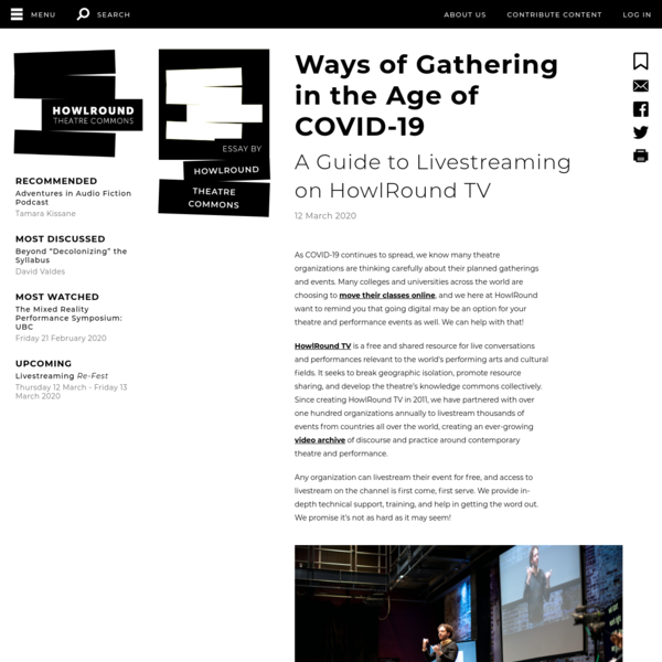 Ways of Gathering in the Age of COVID-19