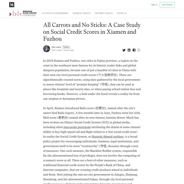 Social Credit Case Study: City Citizen Scores in Xiamen and Fuzhou