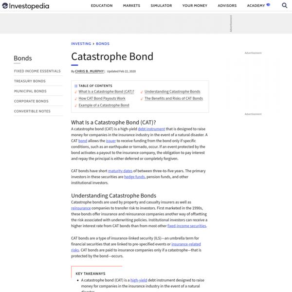 Catastrophe Bond (CAT) Definition
