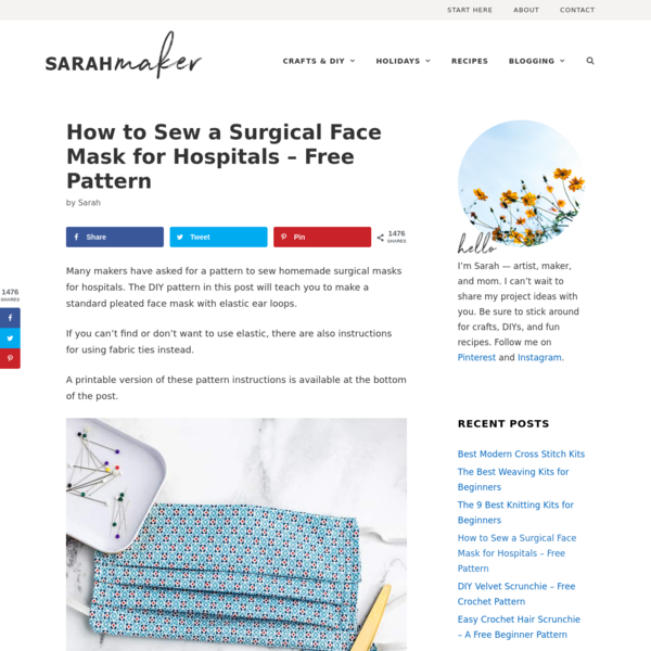 How to Sew a Surgical Face Mask for Hospitals - Free Pattern - Sarah Maker