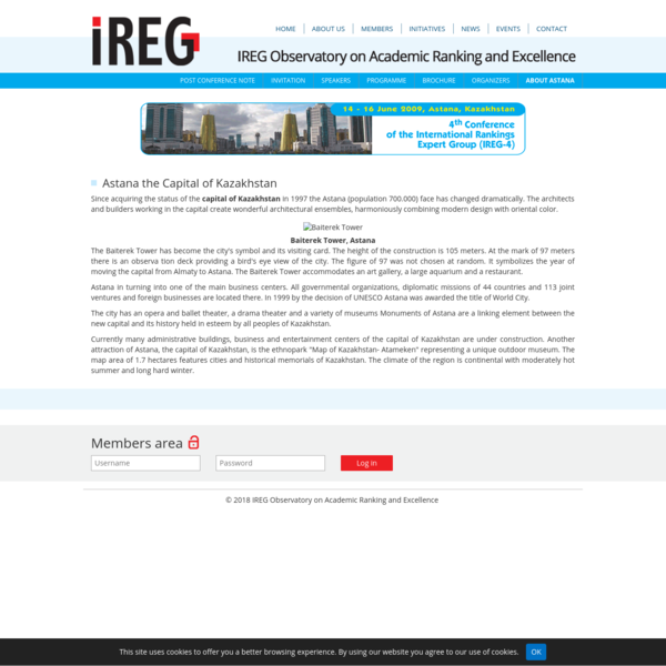 About Astana - IREG Observatory on Academic Ranking and Excellence
