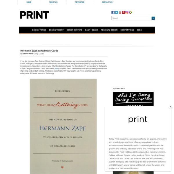 Hermann Zapf at Hallmark Cards - Print Magazine