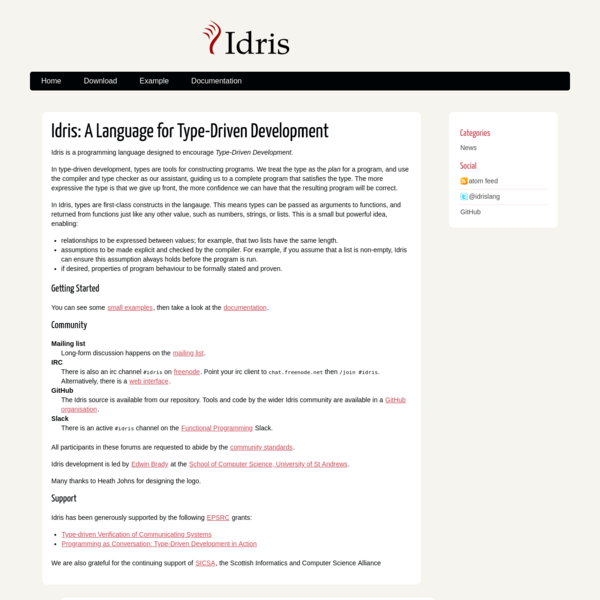 Idris: A Language for Type-Driven Development