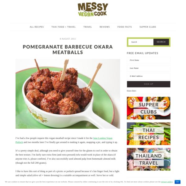 Vegan Pomegranate Barbecue Okara Meatballs