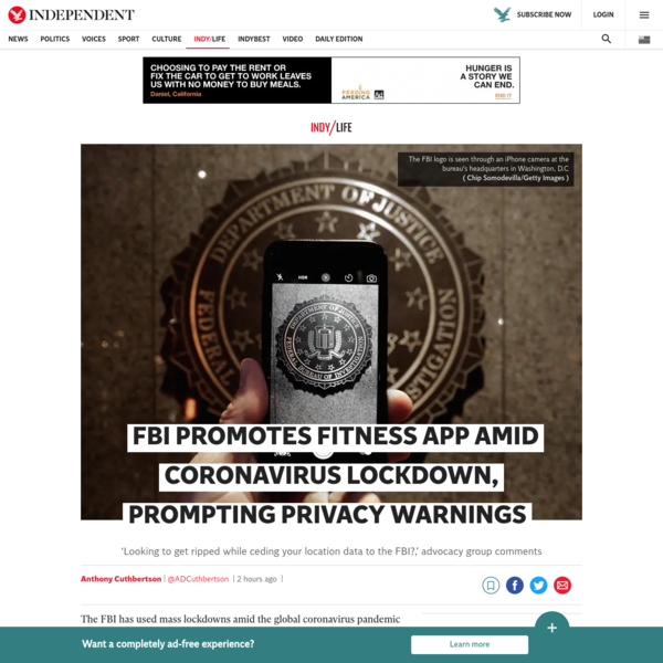 FBI promotes fitness app amid coronavirus lockdown, prompting privacy warnings | The Independent