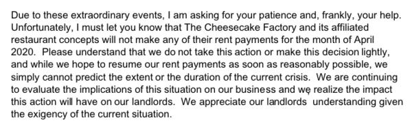 Cheesecake Rent Strike