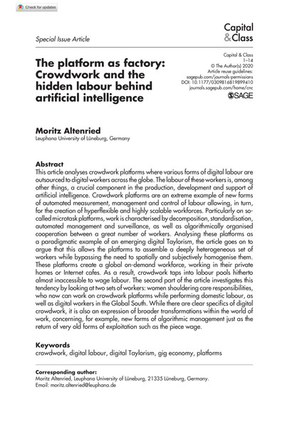 The platform as factory: Crowdwork and the hidden labour behind artificial intelligence - Moritz Altenried