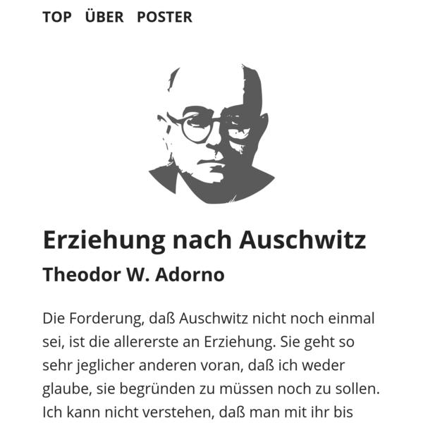 Adorno: Erziehung nach Auschwitz - Lesen, Plakat downloaden und kleben