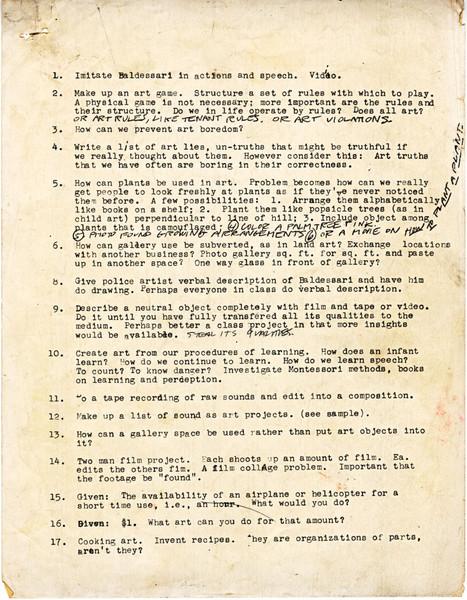 John Baldessari 1970 CalArts assignment sheet