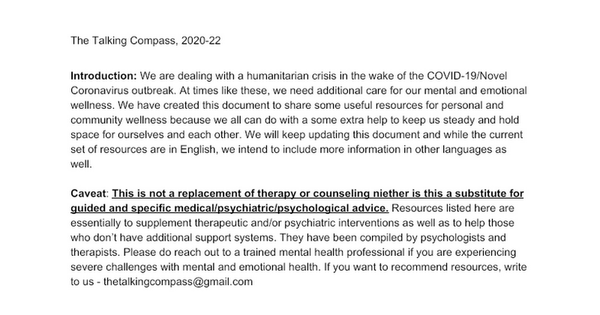 COVID-19 Mental Health Resources List