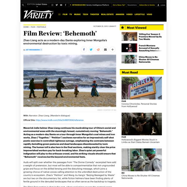 Film Review: 'Behemoth'