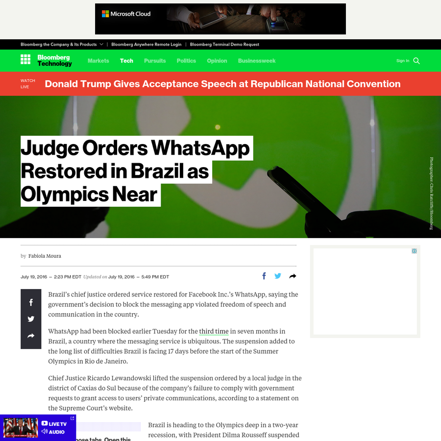 Brazil's chief justice ordered service restored for Facebook Inc.'s WhatsApp, saying the government's decision to block the messaging app violated freedom of speech and communication in the country. WhatsApp had been blocked earlier Tuesday for the third time in seven months in Brazil, a country where the messaging service is ubiquitous.