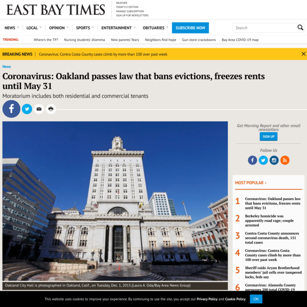 Coronavirus: Oakland passes law that bans evictions, freezes rents until May 31