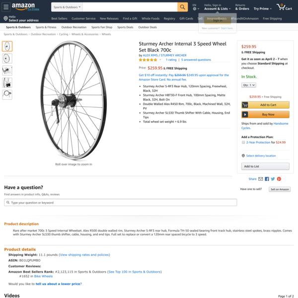Sturmey Archer Internal 3 Speed Wheel Set Black 700c