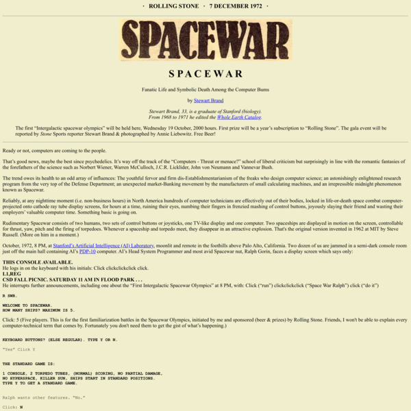 SPACEWAR - by Stewart Brand - Fanatic Life and Symbolic Death Among the Computer Bums.