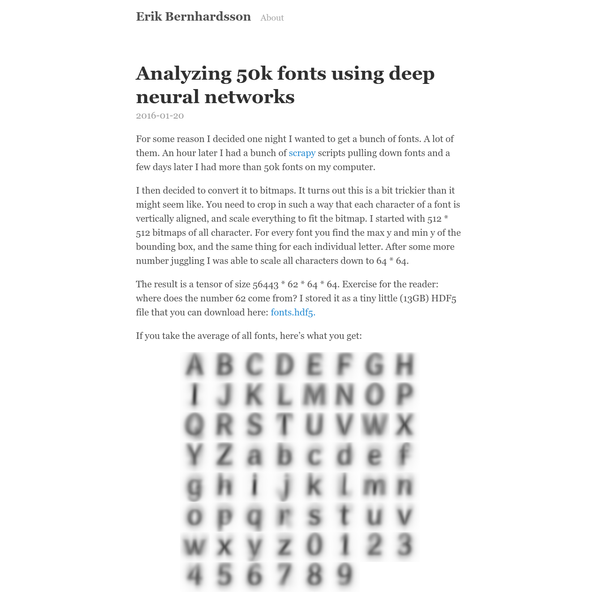 For some reason I decided one night I wanted to get a bunch of fonts. A lot of them. An hour later I had a bunch of scrapy scripts pulling down fonts and a few days later I had more than 50k fonts on my computer. I then decided to convert it to bitmaps.