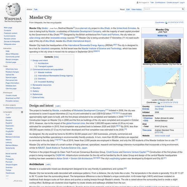 Masdar City - Wikipedia, the free encyclopedia