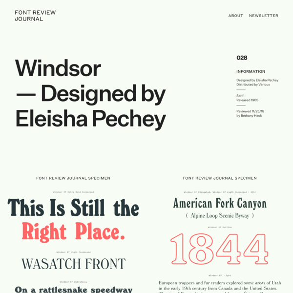 Windsor – Font Review Journal