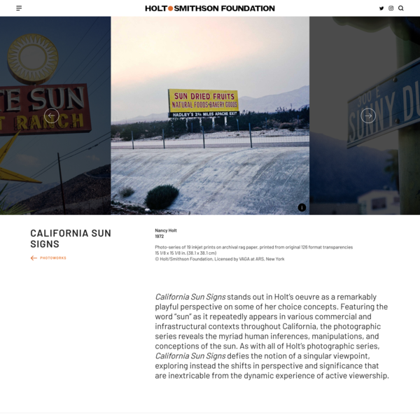 California Sun Signs | Holt/Smithson Foundation
