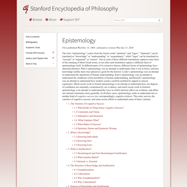 Epistemology (Stanford Encyclopedia of Philosophy)