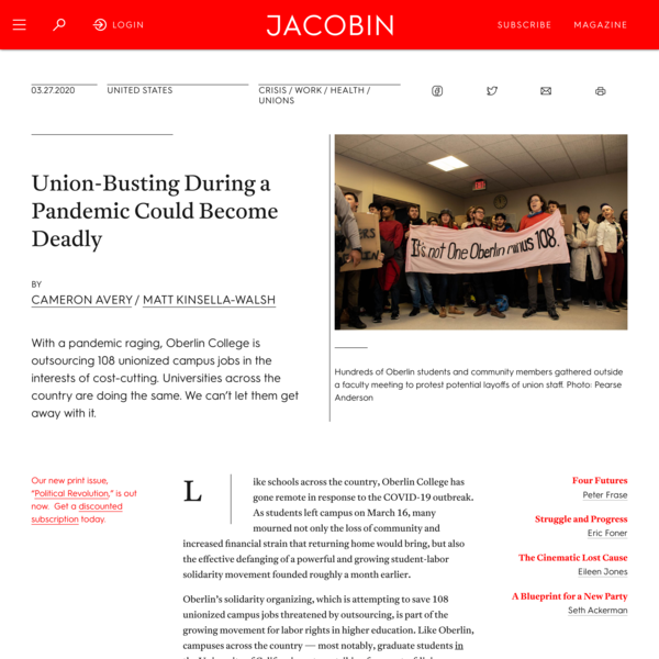 Union-Busting During a Pandemic Could Become Deadly