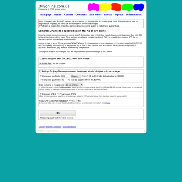 Compress JPG file to a specified size in Kilobytes or Megabytes - IMG online