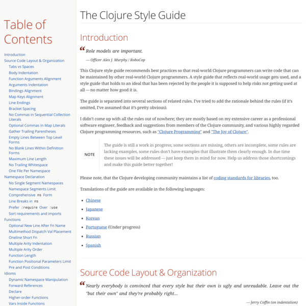 The Clojure Style Guide