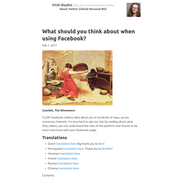 What should you think about when using Facebook? · Vicki Boykis
