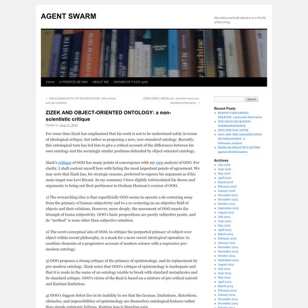 ZIZEK AND OBJECT-ORIENTED ONTOLOGY: a non-scientistic critique