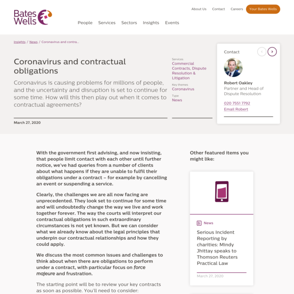 Coronavirus and contractual obligations | Bates Wells, London