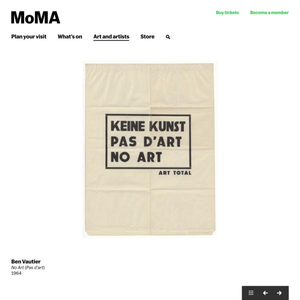 Ben Vautier. No Art (Pas d'art). 1964 | MoMA